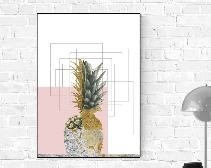 Stampa con ananas. Pineapple Poster. Stampa poster astratto. Arte moderna.