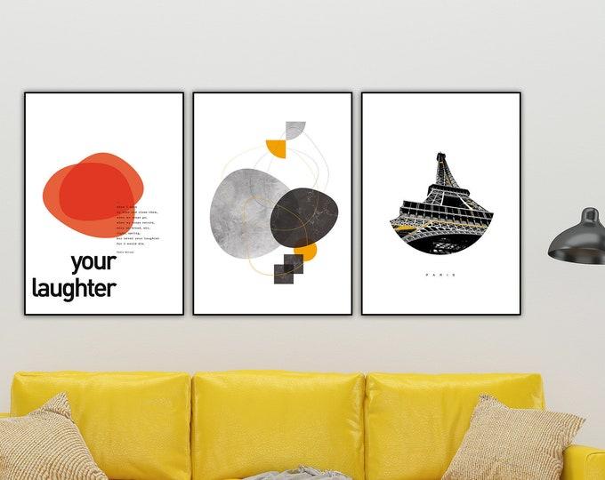 Set di stampe in in stile scandinavo. Set di stampe tipografiche. Stampa decorativa murale.