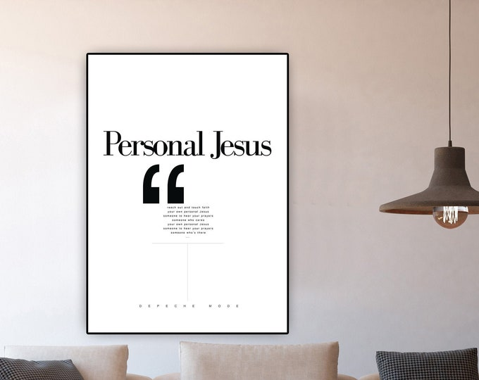 Print: Personal Jesus. Inspiration Depeche Mode. Printing typographic. Scandinavian style. Furnish with prints. Gift for him and for her.