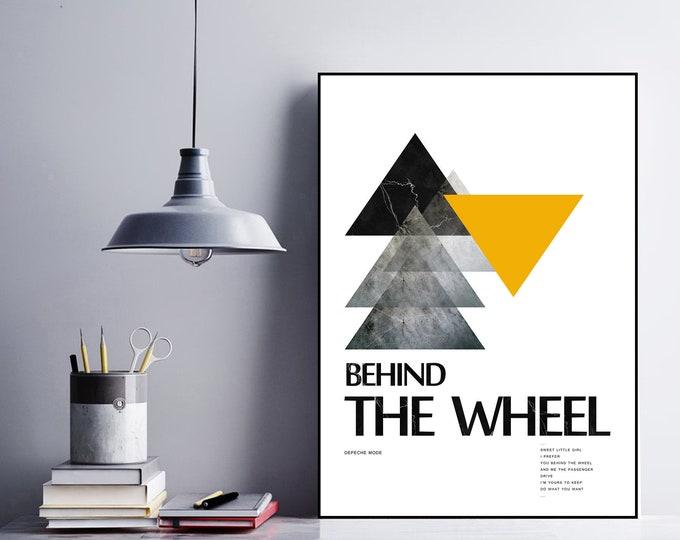 Behind the Wheel Poster Depeche Mode. Stampa tipografica. Idea Regalo. Home Decor.