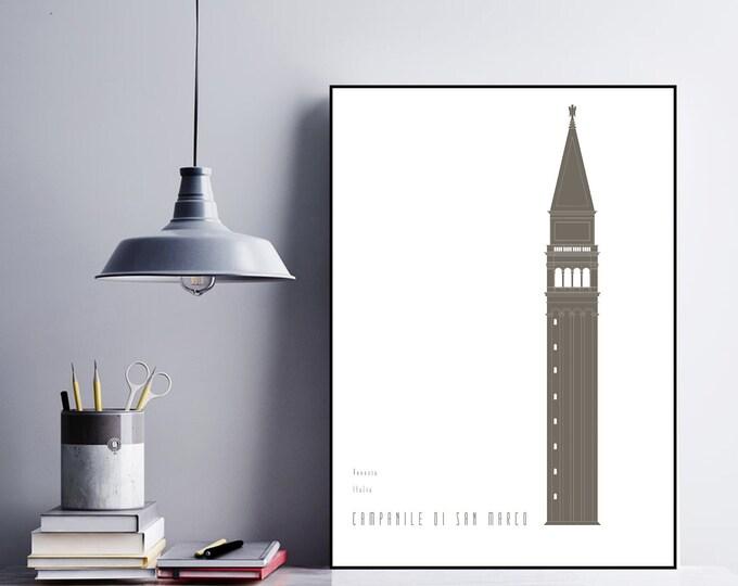 Stampa con Campanile di San Marco a Venezia. Stile minimal. Stampa tipografica.