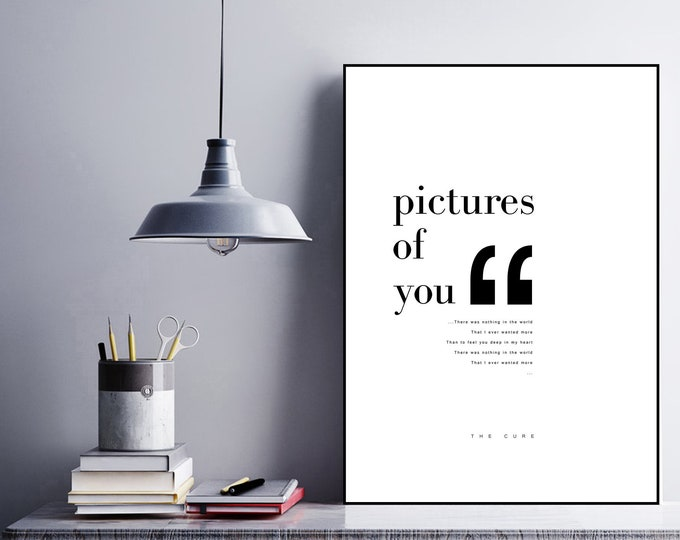 Pictures of You poster The Cure. Stampa decorativa. Stampa tipografica. Stampa stile scandinavo. Idea regalo. Stile nordico.