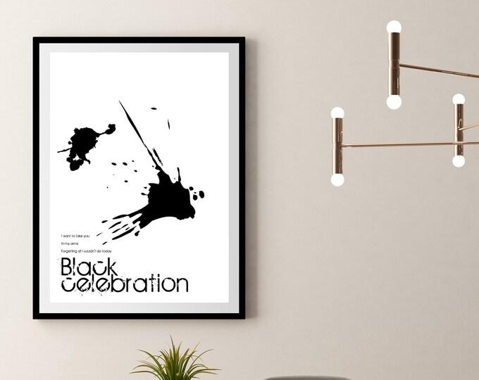 Stampa Poster: Black Celebration. Stampa tipografica con citazione musicale. Stile scandinavo.