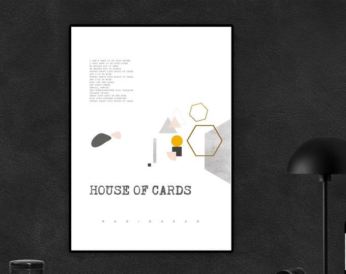 Stampa poster Radiohead: House of Cards. Stampa tipografica. Stampa decorativa da muro con citazione musicale.