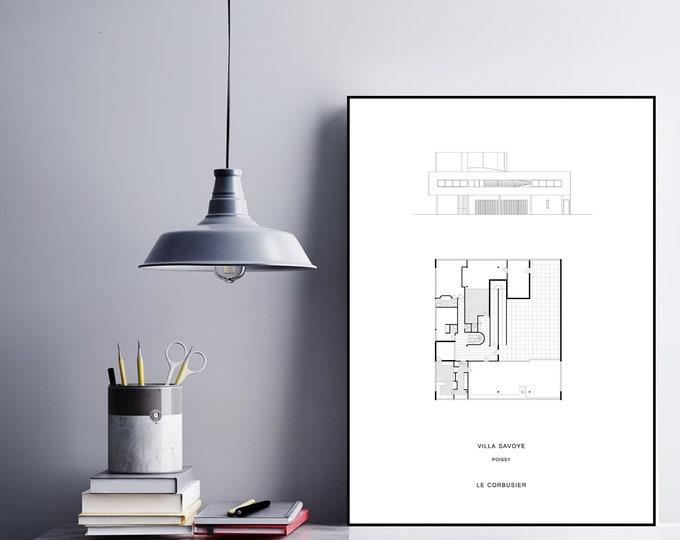 Stampa Villa Savoye di Le Corbusier. Stampa tipografica. Stampa in stile scandinavo.