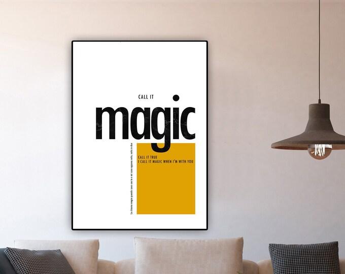 Stampa poster: MAGIC. Stampa tipografica. Stile scandinavo. Arredamento casa. Regalo per lei e per lui.
