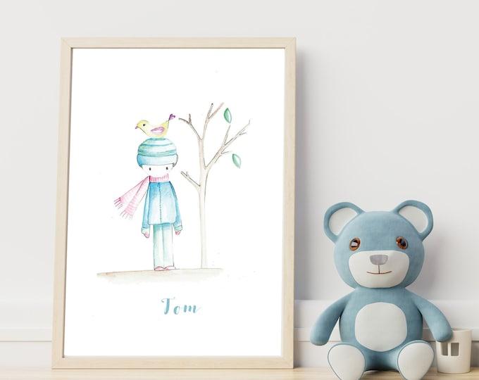 Illustrazione per cameretta: il bambino e l'uccellino. Stampa tipografica. Decor personalizzabile per cameretta.