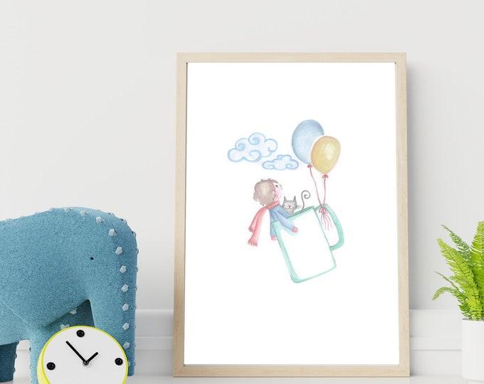 Illustrazione per cameretta: il bambino su tazza volante. Stampa tipografica. Decor personalizzabile per cameretta.