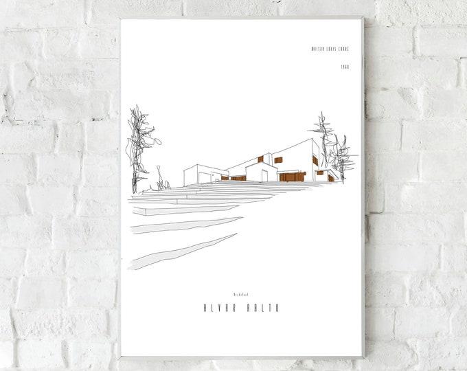 Poster con illustrazione della Maison Louis Carrè di Alvar Aalto a Bazoches-sur-Guyonne, Viaggi nel mondo,