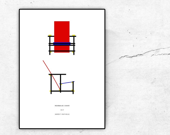 Poster con Red & Blue Chair di Gerrit Rietveld. Design moderno. Stampa tipografica.
