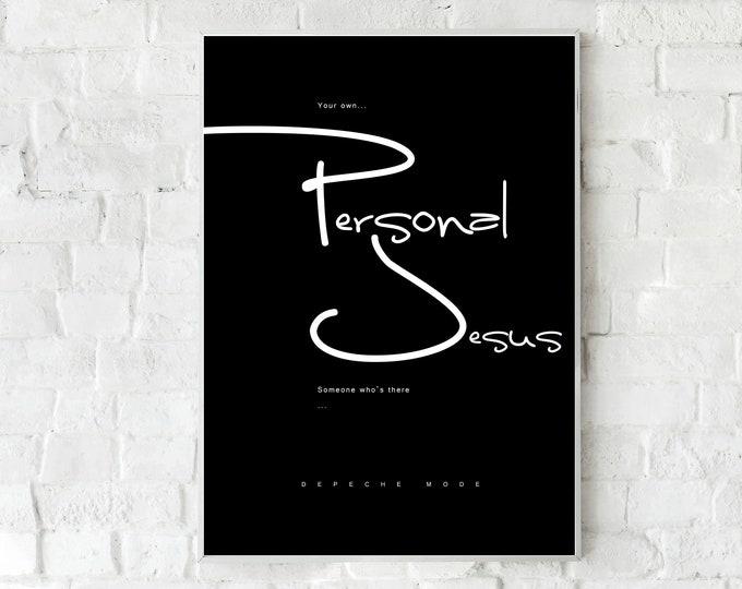 Stampa: PERSONAL JESUS. Ispirazione Depeche Mode. Stampa tipografica. Stampa in stile scandinavo. Regalo per lei. Regalo per lui.