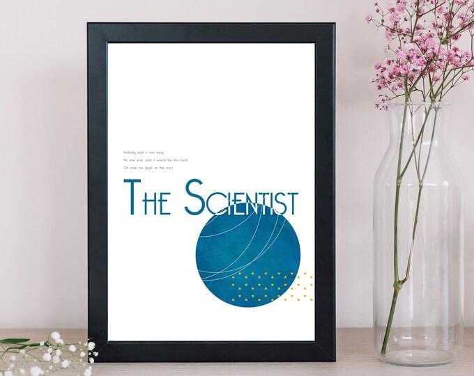 Stampa poster: The Scientist. Stampa tipografica. Regalo per lei e per lui.