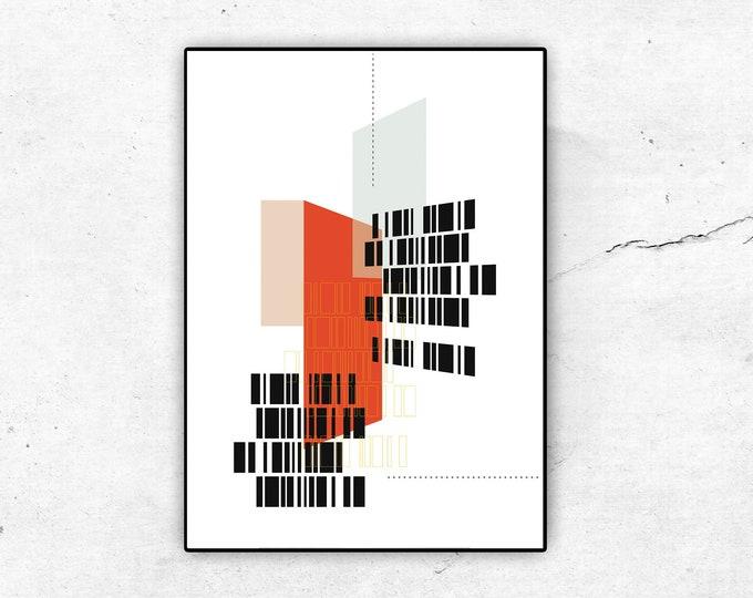 Stampa con collage. Stampa tipografica. Stile scandinavo. Stampa decor. Arredamento ufficio.