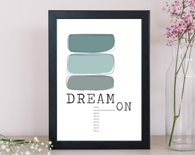 Dream ON Poster Depeche Mode. Stampa decor. Stampa tipografica. Stampa stile scandinavo. Idea regalo. Stile nordico. Citazione musicale.