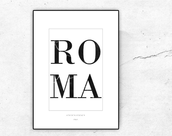 Stampa poster Italia: Roma. Stampa tipografica in stile scandinavo. Decor parete. Viaggi nel mondo.