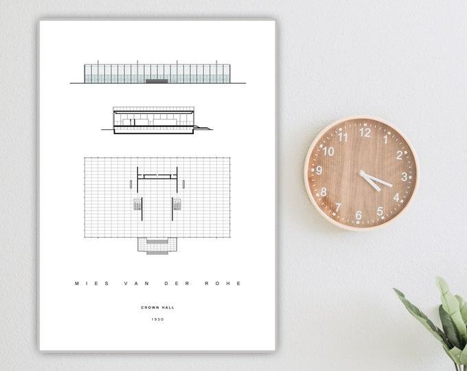 Stampa con CROWN HALL di Mies Van Der Rohe. Stampa tipografica. Stampa decorativa murale.