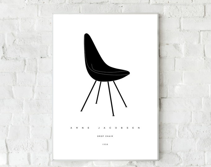 Stampa con Drop Chair di Arne Jacobsen. Design moderno. Idea regalo per un architetto