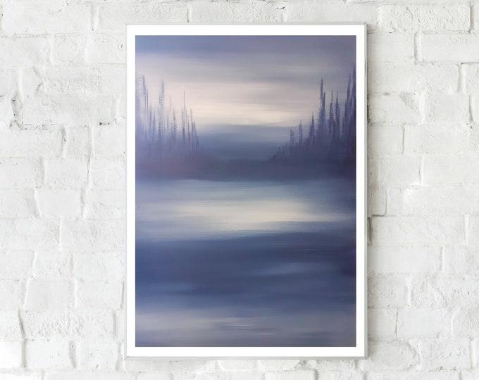 Dipinto su tela con paesaggio d'acqua. Blu oltremare. Arte astratta. Arte moderna. Stile scandinavo. Idea regalo.