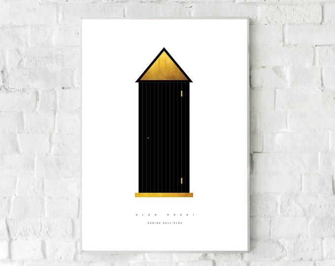Stampa con Cabina dell'Elba di Aldo Rossi. Stampa tipografica. Stile nordico. Regalo per architetto. Arredare con stampe. Office decor
