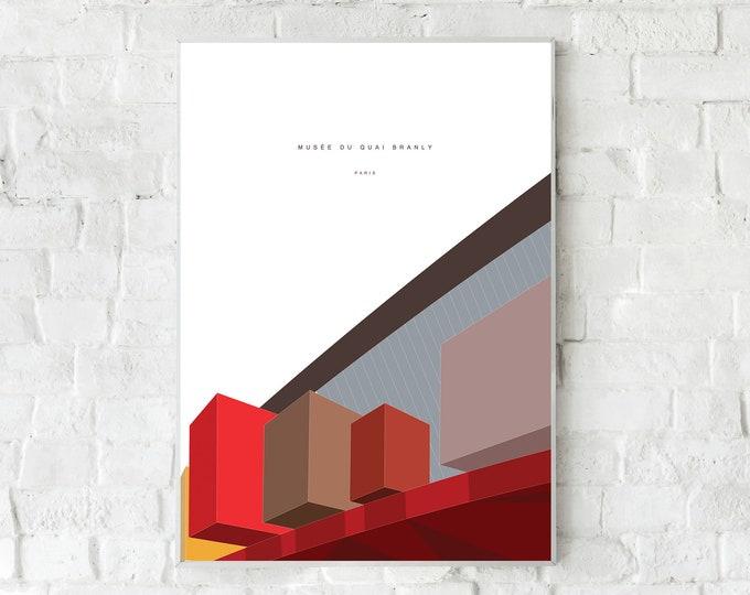 Stampa con Musée du quai Branly a Parigi. Stampa tipografica. Stile scandinavo. Idea regalo. Arredare con stampe. Stampa decorativa ufficio.