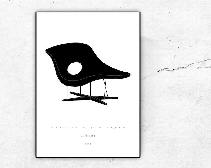 Stampa con La Chaise di Charles & Ray Eames. Design anni 50. Stampa tipografica. Idea regalo per un architetto.