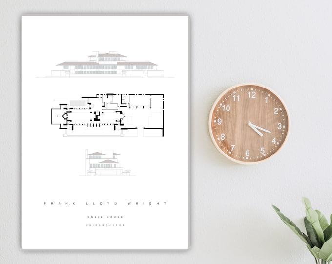 Stampa con Robie House di Frank Lloyd Wright. Stampa tipografica. Decorazione ufficio. Arredare con le stampe.