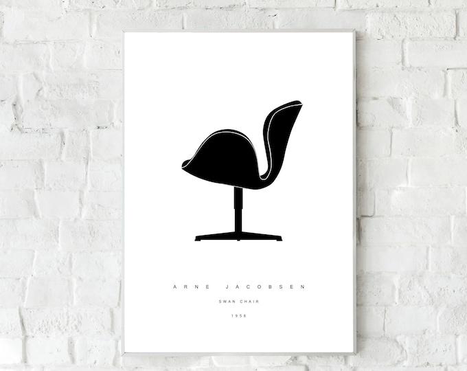 Stampa con SWAN Chair di Arne Jacobsen. Stampa tipografica. Stile scandinavo. Regalo per un architetto. Stile nordico. Decorazione ufficio.