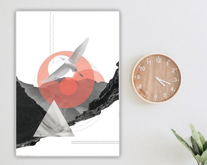 Stampa con collage. Stampa tipografica. Arte geometrica. Nero e rosa.
