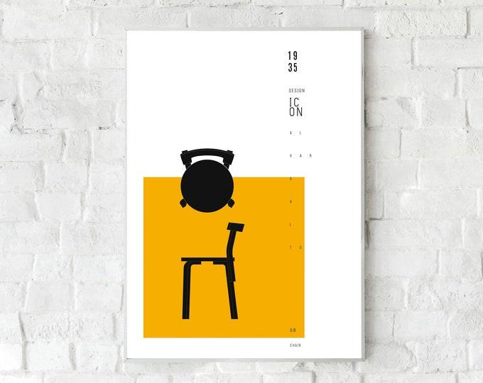 Stampa poster con Chair 68 di Alvar Aalto. Design moderno. Stampa tipografica. Stampa stile scandinavo. Idea regalo. Stampa stile nordico.