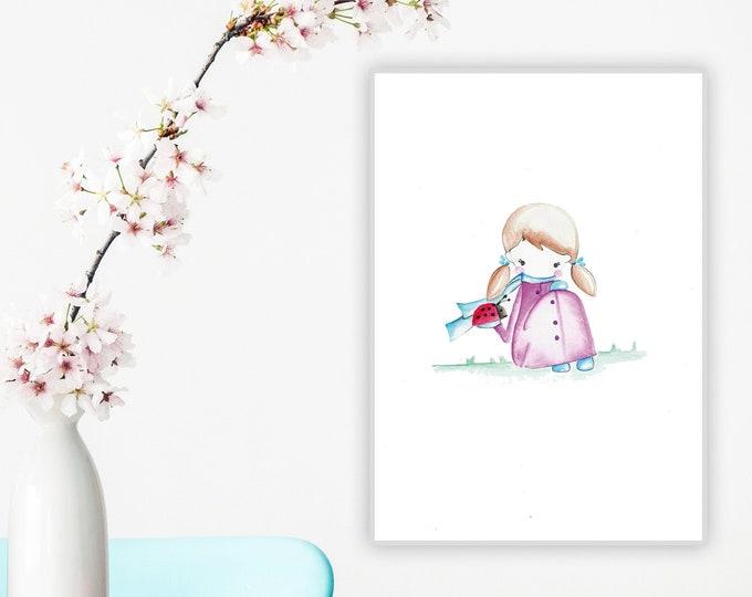 Illustrazione per cameretta: la bambina e la coccinella. Stampa tipografica. Decor personalizzabile per cameretta.