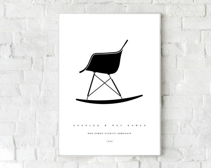 Stampa con Eames Plastic Armchair RAR di Charles & Ray Eames. Design moderno. Stampa tipografica. Stile scandinavo. Regalo per un architetto
