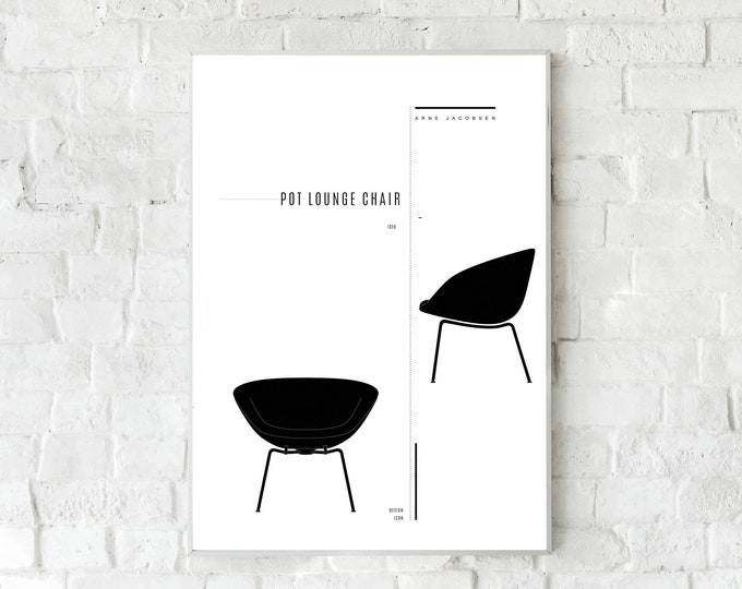 Pot Lounge Chair di Arne Jacobsen. Stampa design anni 50. Stampa tipografica. Stile scandinavo.