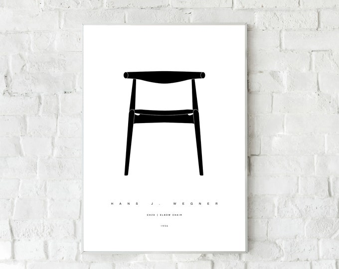 Printing with CH20 ELBOW Chair by Hans J. Wegner. Printing typographic. Scandinavian style. Decorative print. Gift for an architect.