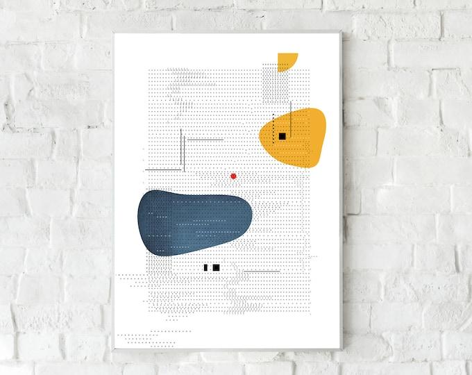 Stampa con arte astratta. Poster con arte geometrica. Arte moderna. Stampa tipografica. Stile scandinavo. Idea regalo. Dattilografia