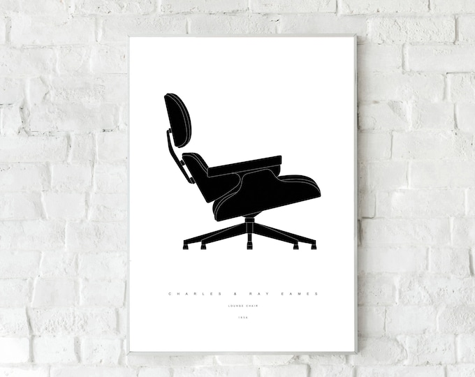 Lounge Chair di Charles & Ray Eames. Stampa design anni 50. Icona design industriale.