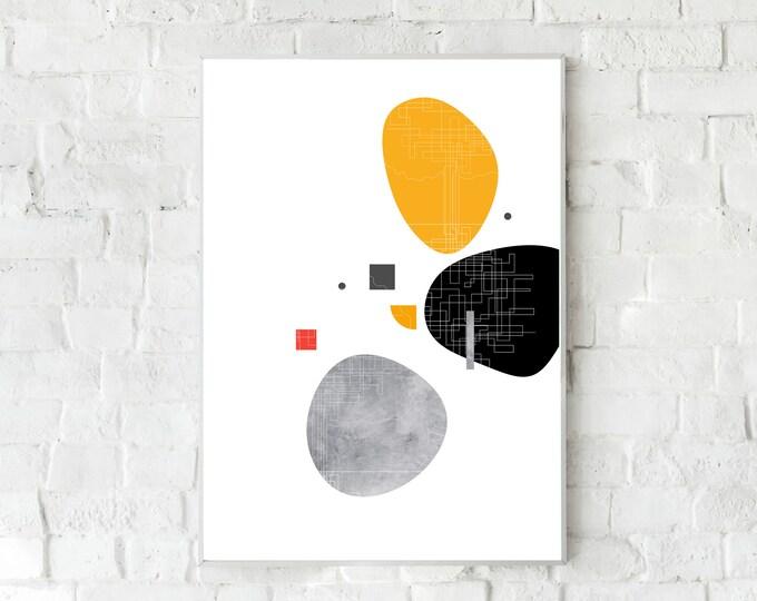 Stampa con arte astratta. Poster arte geometrica. Stampa tipografica. Home decor. Office decor.