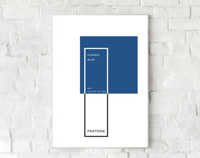Pantone Blue Classic print. Color of the year 2020. Furniture print. Office decoration. Gift idea. Nordic style. Gift for architect.