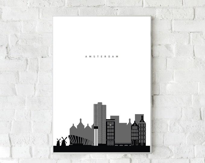Stampa poster Amsterdam. Stampa tipografica. Viaggi nel mondo. Regalo per lei. regalo per lui.