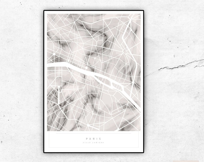 Print Paris map. Printing with abstract graphics. Texture Marble. Typographical printing. Scandinavian style. Travel around the world. Decorative print.