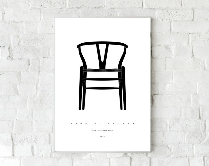 Stampa con CH24   WISHBONE Chair di Hans J. Wegner. Design moderno. Stampa tipografica. Stile scandinavo. Stampa decorativa. Decor parete.