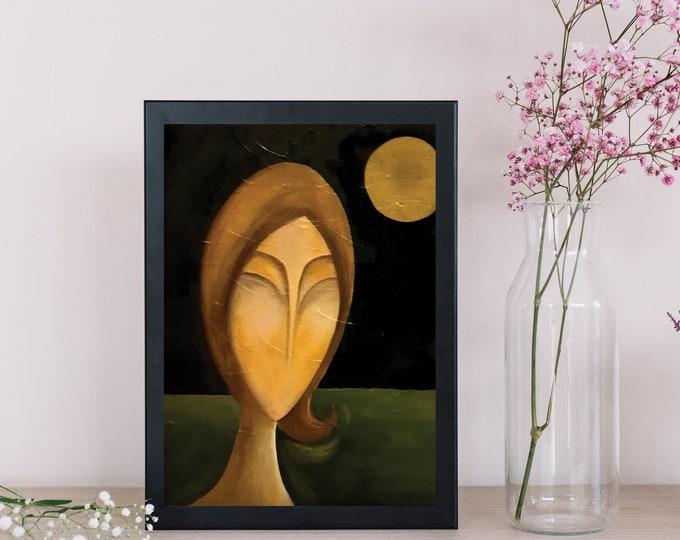 Dipinto su tela con volto di donna. Arte figurativa. Arte moderna. Idea regalo per lei. Quadro per decor moderno.