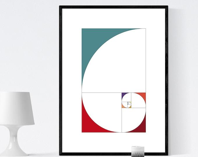Poster con arte geometrica e astratta. Ispirazione Serie di Fibonacci. Stampa tipografica. Arte moderna.