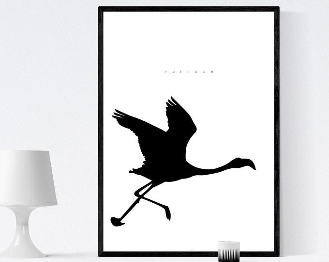 Stampa di un poster con fenicottero. Arte astratta. Stampa tipografica. Stile scandinavo. Stampa decorativa murale.