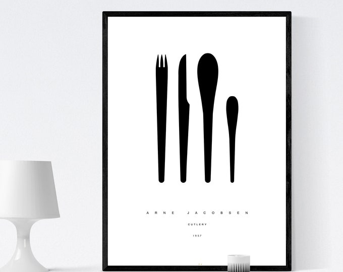 Print with design from Arne Jacobsen's cutlery service. Printing typographic. Scandinavian style. Kitchen décor. Gift for architect.
