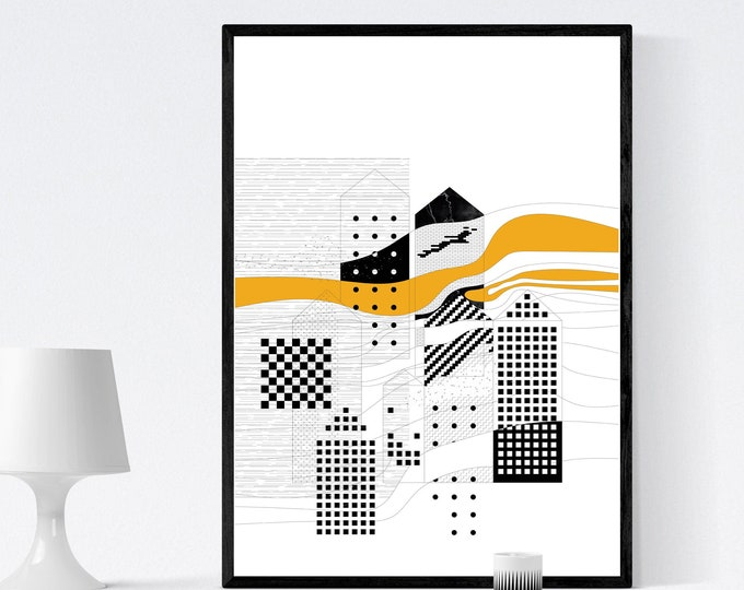 Architectural illustration. Printing typographic. Gift for architect. Mural decoration. Digital illustration. Nordic style.