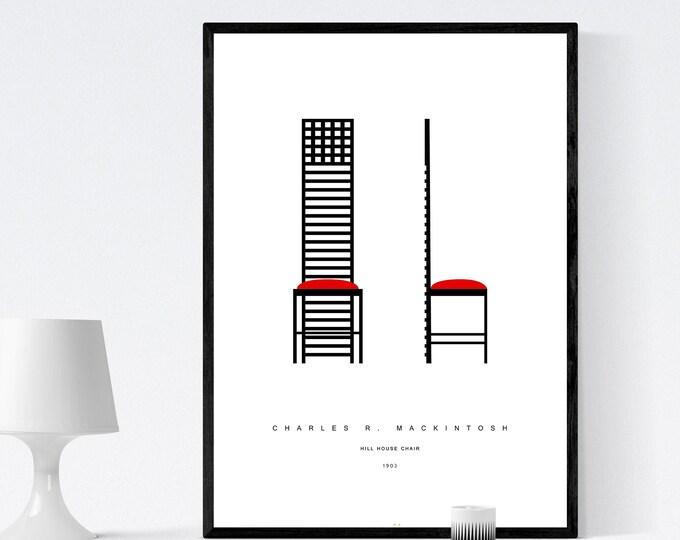 Stampa con Hill House Chair di C. R. Mackintosh. Stampa tipografica. Stile scandinavo. Stampa design moderno. Arredare con le stampe.