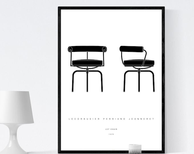 Print with LC7 chair by Le Corbusier. Modern design. Printing typographic. Scandinavian style. Decorative print. Architect gift. Perriand.