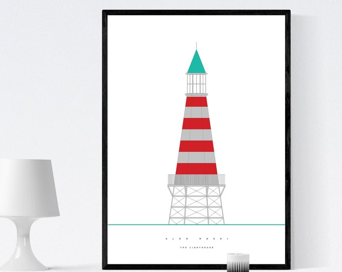 Stampa con Faro di Aldo Rossi. The Lighthouse. Stampa tipografica. Stile nordico. Regalo per architetto. Arredare con stampe. Office decor
