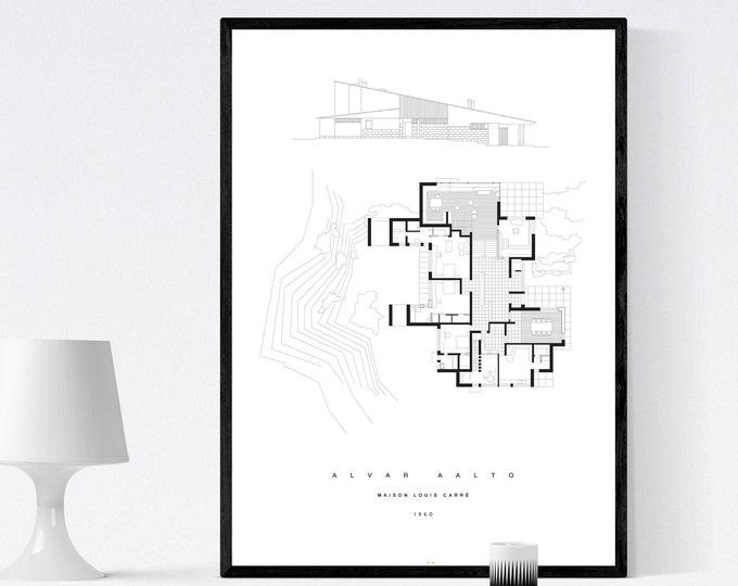 Stampa con Maison Louis Carré di Alvar Aalto. Architettura moderna. Stampa tipografica. Architettura in Francia. Stile nordico. Office Decor