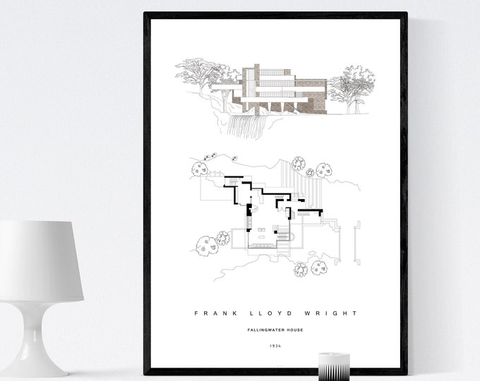 Frank Lloyd Wright Press: Fallingwater House. House on the waterfall. Printing typographic. Scandinavian style. Nordic style. Office decoration.